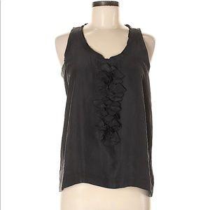 Theory Visala Sleeveless Top 100% Silk Black Shell